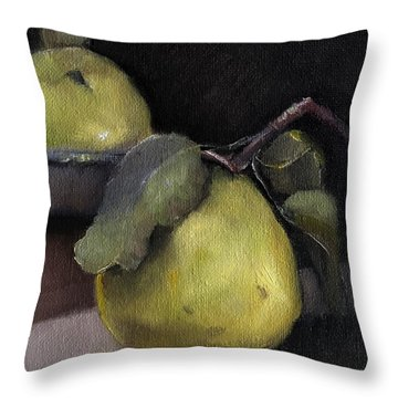 Pears Stilllife Painting Throw Pillow