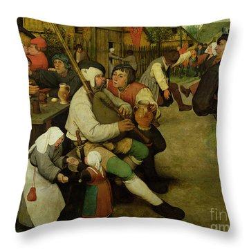 Peasant Dance Throw Pillow by Pieter the Elder Bruegel