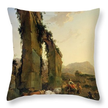 Peasants With Cattle By A Ruined Aqueduct Throw Pillow by Nicolaes Pietersz Berchem