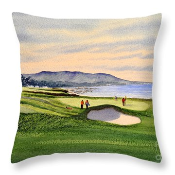 Pebble Beach Golf Course Throw Pillow by Bill Holkham