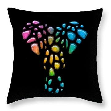 Pebble Elephant Black 1 Throw Pillow