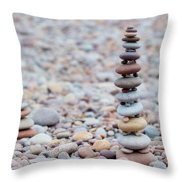 Pebble Stack II Throw Pillow by Helen Northcott
