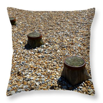 Pebbles And Wood Throw Pillow