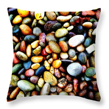 Pebbles On A Beach Throw Pillow