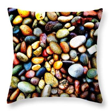 Pebbles On A Beach Throw Pillow