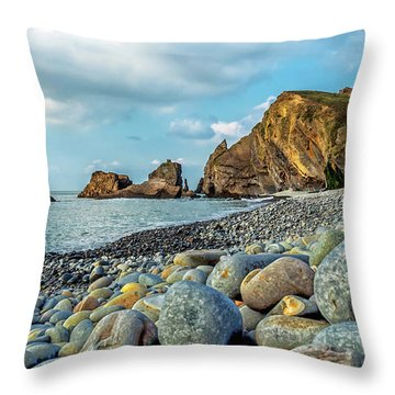 Throw Pillow featuring the photograph Pebbles On The Beach by Nick Bywater