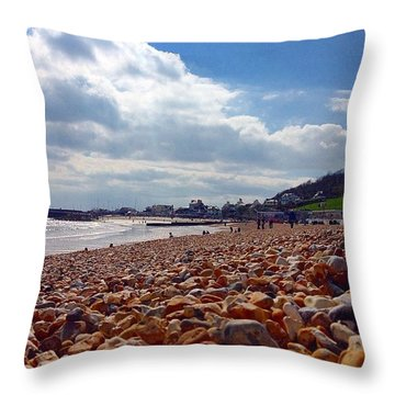 Pebbled Sea Front Throw Pillow
