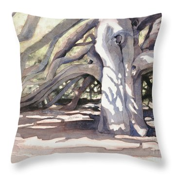Throw Pillow featuring the painting Pechanga Great Oak by Bonnie Rinier
