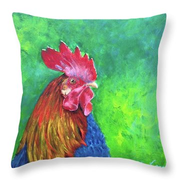 Morning Rooster Throw Pillow