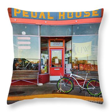 Throw Pillow featuring the photograph Pedal House Of Laramie by Craig J Satterlee