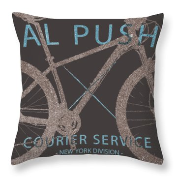 Pedal Pushers Courier Service Bike Tee Throw Pillow