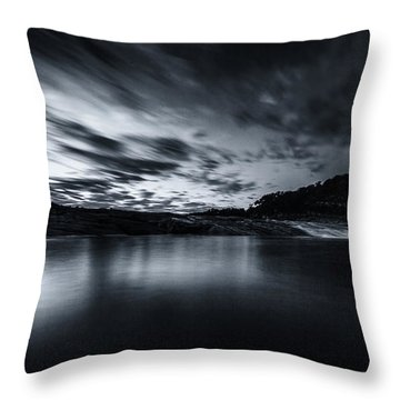 Peddernales Falls Long Exposure Black And White #1 Throw Pillow