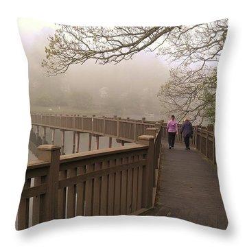 Pedestrian Bridge Early Morning Throw Pillow