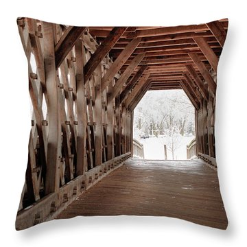 Pedestrian Lattice Bridge Throw Pillow