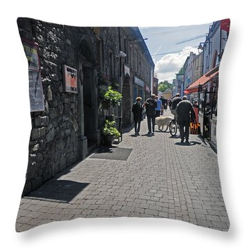 Pedestrian Street In Kilkenny Throw Pillow by Cindy Murphy - NightVisions