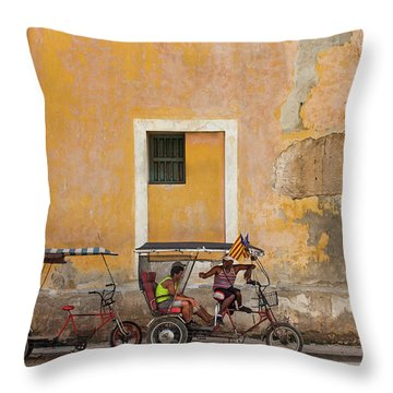 Throw Pillow featuring the photograph Pedicabs At Convento De Santa Clara Havana Cuba by Charles Harden