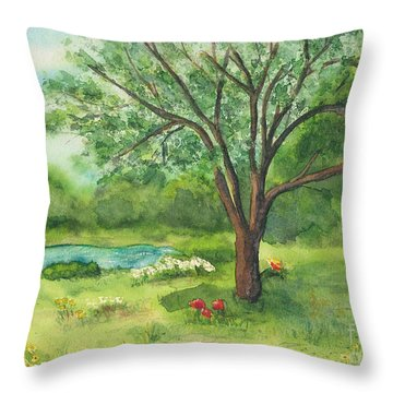 Throw Pillow featuring the painting Pedro's Tree by Vicki  Housel