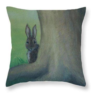 Peek A Boo Behind The Tree Throw Pillow