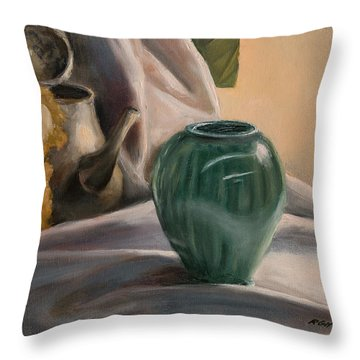 Throw Pillow featuring the painting Peek-a-boo by Break The Silhouette