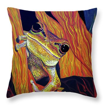 Throw Pillow featuring the painting Peek A Boo by Debbie Chamberlin