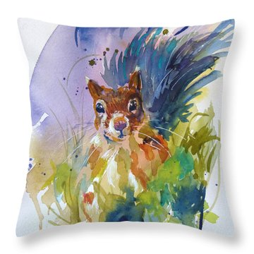 Throw Pillow featuring the painting Peek A Boo by P Maure Bausch