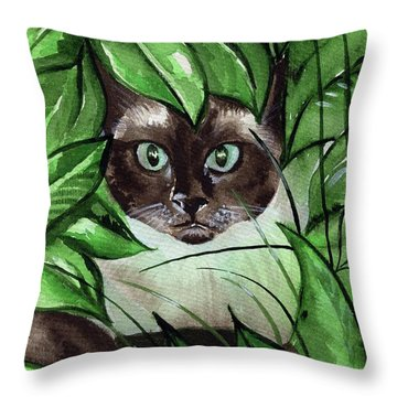Throw Pillow featuring the painting Peek A Boo Siamese Cat by Dora Hathazi Mendes