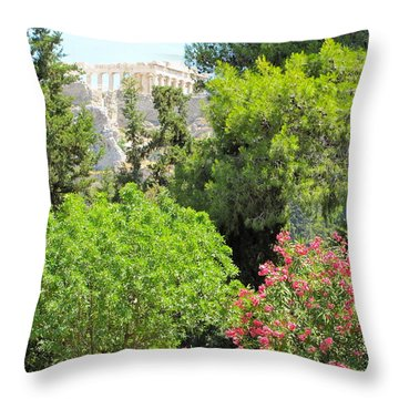 Peek Of The Parthenon Throw Pillow