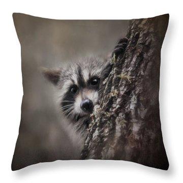 Peekaboo Raccoon Art Throw Pillow by Jai Johnson