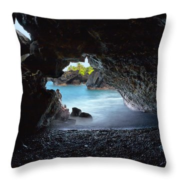 Peeking Through The Lava Tube Throw Pillow