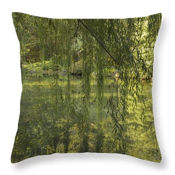 Peeking Through The Willows Throw Pillow by Linda Geiger