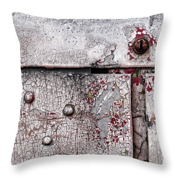 Throw Pillow featuring the photograph Peeling Paint On Metal by Carol Leigh