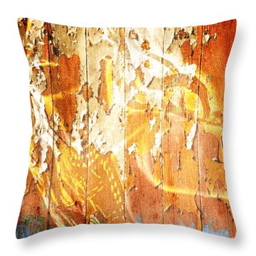 Throw Pillow featuring the digital art Peeling Wall Portrait by Andrea Barbieri