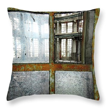 Throw Pillow featuring the photograph Peeping Inside Factory Hall - Urban Decay by Dirk Ercken
