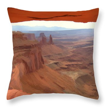 Throw Pillow featuring the digital art Peering Out 2 Watercolor by Gary Baird