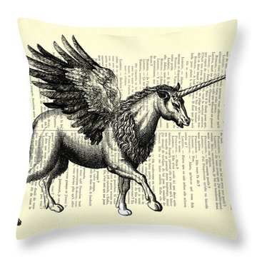 Pegasus Black And White Throw Pillow