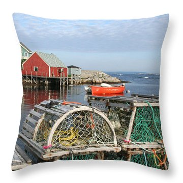 Peggys Cove And Lobster Traps Throw Pillow by Thomas Marchessault