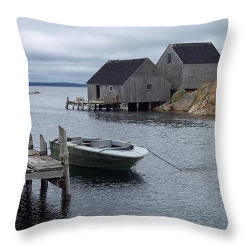 Throw Pillow featuring the photograph Peggys Cove Canada by Richard Bryce and Family