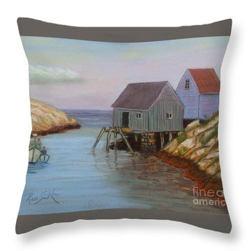 Peggy's Cove Fish Shacks Throw Pillow