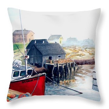 Throw Pillow featuring the painting Peggy's Cove Harbour by Patricia L Davidson