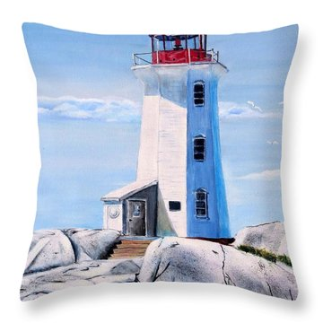 Throw Pillow featuring the painting Peggy's Cove Lighthouse by Marilyn  McNish