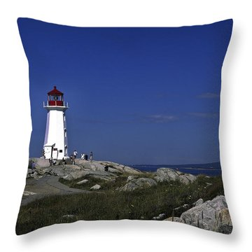 Peggy's Cove Lighthouse Throw Pillow by Sally Weigand