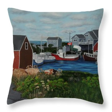 Peggy's Cove Throw Pillow by Lisa MacDonald