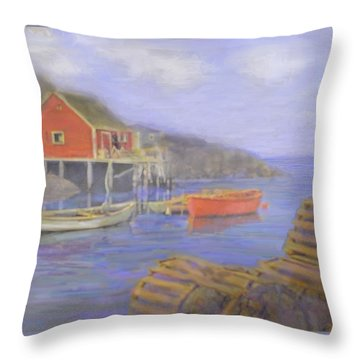 Peggy's Cove Lobster Pots Throw Pillow by Ian  MacDonald