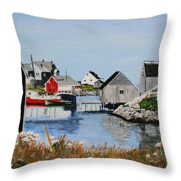 Peggys Cove Nova Scotia Throw Pillow by Betty-Anne McDonald