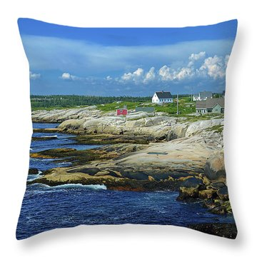 Throw Pillow featuring the photograph Peggy's Cove by Rodney Campbell