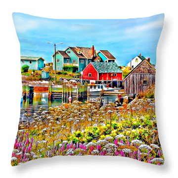 Peggy's Cove Wildflower Harbour Throw Pillow