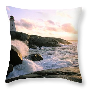 Peggy's Point Lighthouse, Canada, Nova Scotia, Peggy's Cove Throw Pillow