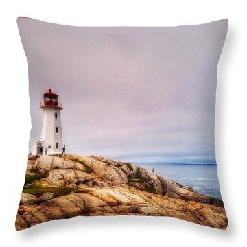 Peggys Point Lighthouse Throw Pillow