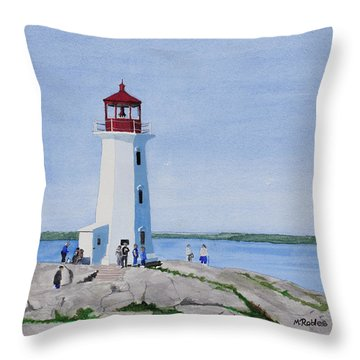 Peggy's Point Lighthouse Throw Pillow