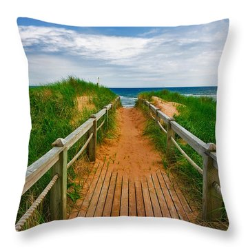 Pei Beach Boardwalk 2 Throw Pillow